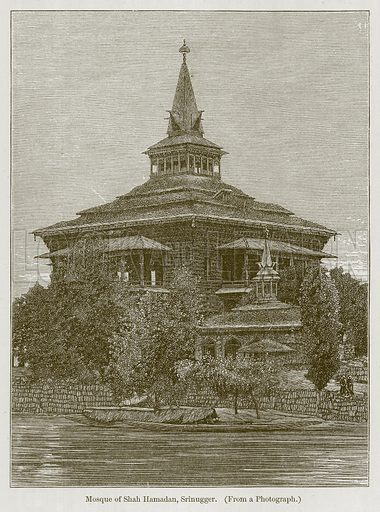 Mosque of Shah Hamadan, Srinugger. Illustration for History of Indian and Eastern Architecture by James Fergusson (John Murray, 1876).