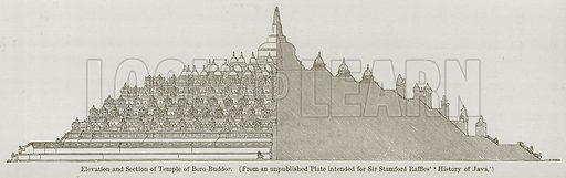 Elevation and Section of Temple of Boro Buddor. Illustration for History of Indian and Eastern Architecture by James Fergusson (John Murray, 1876).