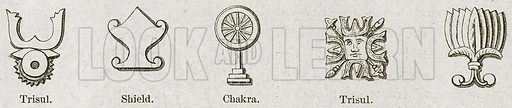 Emblems. Trisul, Shield, Chakra. Illustration for History of Indian and Eastern Architecture by James Fergusson (John Murray, 1876).