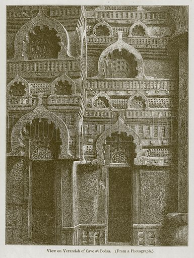 View on Verandah of Cave at Bedsa. Illustration for History of Indian and Eastern Architecture by James Fergusson (John Murray, 1876).