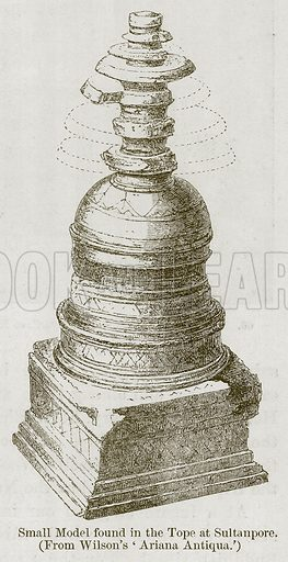 Small Model found in the Tope at Sultanpore. Illustration for History of Indian and Eastern Architecture by James Fergusson (John Murray, 1876).