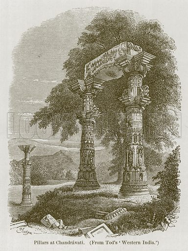 Pillars at Chandravati. Illustration for History of Indian and Eastern Architecture by James Fergusson (John Murray, 1876).