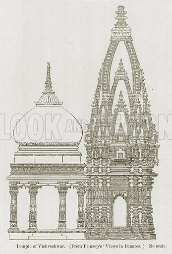 Temple of Vishveshwar. Illustration for History of Indian and Eastern Architecture by James Fergusson (John Murray, 1876).