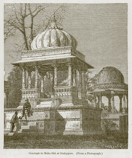 Cenotaph in Maha Sati at Oudeypore. Illustration for History of Indian and Eastern Architecture by James Fergusson (John Murray, 1876).