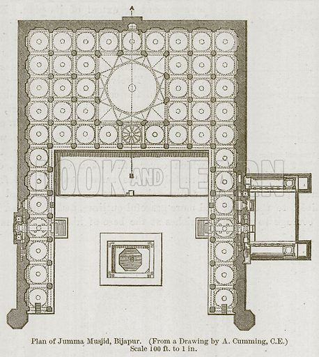 Plan of Jumma Musjid, Bijapur. Illustration for History of Indian and Eastern Architecture by James Fergusson (John Murray, 1876).