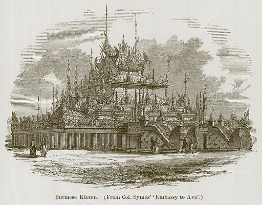 Burmese Kioum. Illustration for History of Indian and Eastern Architecture by James Fergusson (John Murray, 1876).