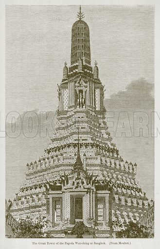 The Great Tower of the Pagoda Wat-Ching at Bangkok. Illustration for History of Indian and Eastern Architecture by James Fergusson (John Murray, 1876).