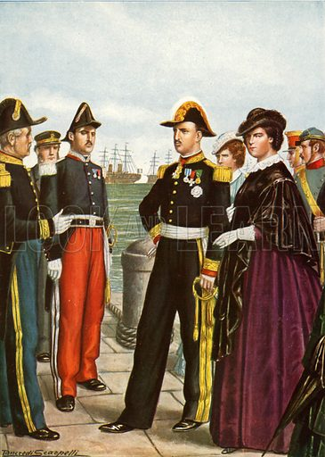 King Francis II  of Naples and Queen Amalia leave Gaeta of the Two Sicilies.  Illustration for Storia d'Italia by Paolo Giudici (Nerbini, 1929-32).
