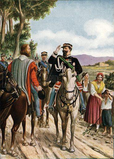 Historic meeting at Teano between Victor Emmanuel and Garibaldi, 1860.  Illustration for Storia d'Italia by Paolo Giudici (Nerbini, 1929-32).
