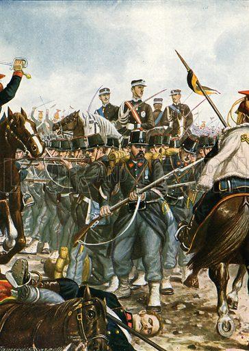 Prince Umberto at the battle of Villafranca, 1866.  Illustration for Storia d'Italia by Paolo Giudici (Nerbini, 1929-32).