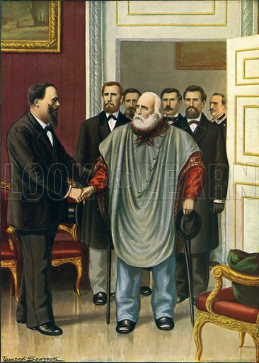 Garibaldi visiting Vittorio Emanuele in Rome.  The final discussion between the two authors of the Risorgimento.  Illustration for Storia d'Italia by Paolo Giudici (Nerbini, 1929-32).