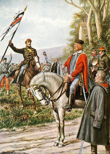 Garibaldi at Dijon.  Illustration for Storia d'Italia by Paolo Giudici (Nerbini, 1929-32).