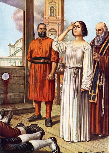 Eleonora Fonseca-Pimentel salutes her executed colleagues from the scaffold before her own execution in the market square in Naples.  Illustration for Storia d'Italia by Paolo Giudici (Nerbini, 1929-32).
