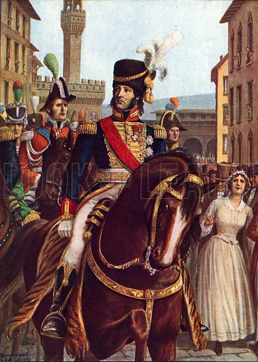 Joachim Murat entering Florence, 19 January 1801.  Illustration for Storia d'Italia by Paolo Giudici (Nerbini, 1929-32).