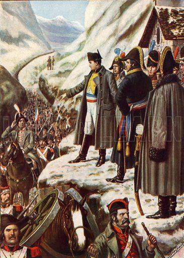 Napoleon at the Great St Bernard Pass.  Illustration for Storia d'Italia by Paolo Giudici (Nerbini, 1929-32).