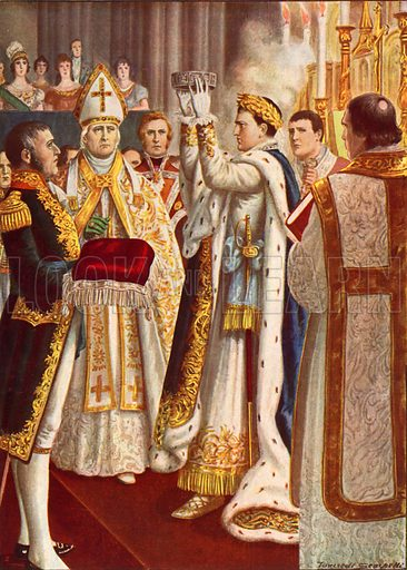 Napoleon crowned king of Italy in Milan Cathedral.  Illustration for Storia d'Italia by Paolo Giudici (Nerbini, 1929-32).