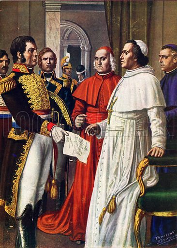 Napoleon serving notice of imprisonment on Pope Pius VII.  Illustration for Storia d'Italia by Paolo Giudici (Nerbini, 1929-32).