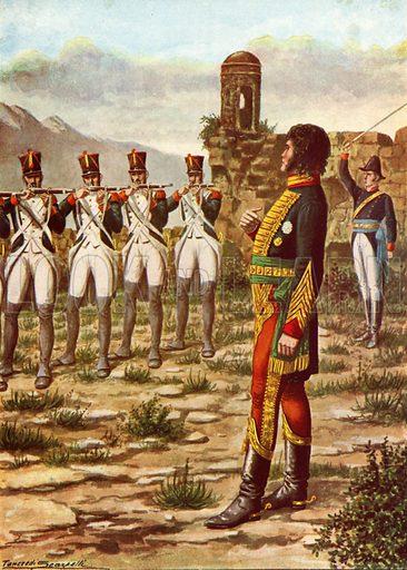 Joachim Murat facing a firing squad in Calabria.  Illustration for Storia d'Italia by Paolo Giudici (Nerbini, 1929-32).