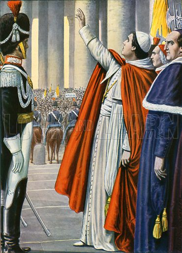18 July 1846, Pope Pius IX declares an amnesty. The people of Rome with a great demonstration of jubilation show him their gratitude. Illustration for Storia d'Italia by Paolo Giudici (Nerbini, 1929–32).