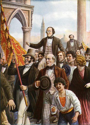 Daniele Manin and Niccolo Tommaseo freed from prison 18 March 1848.  Illustration for Storia d'Italia by Paolo Giudici (Nerbini, 1929-32).