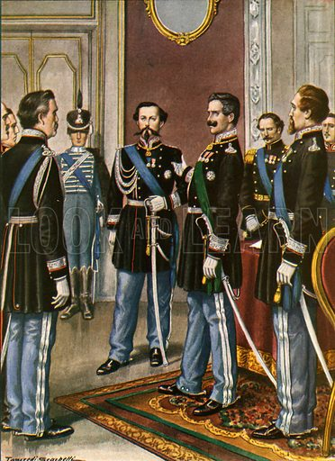 The abdication of Charles Albert in favour of Victor Emmanuel.  Illustration for Storia d'Italia by Paolo Giudici (Nerbini, 1929-32).