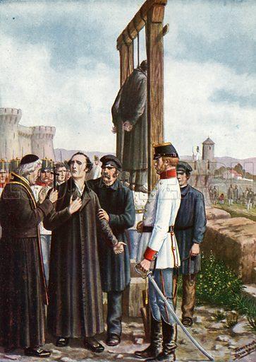 The Belfiore Martyrs: Don Enrico Tazzoli's last moments, 1853.  Illustration for Storia d'Italia by Paolo Giudici (Nerbini, 1929-32).