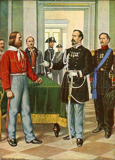 Garibaldi and General La Marmora.  Illustration for Storia d'Italia by Paolo Giudici (Nerbini, 1929-32).