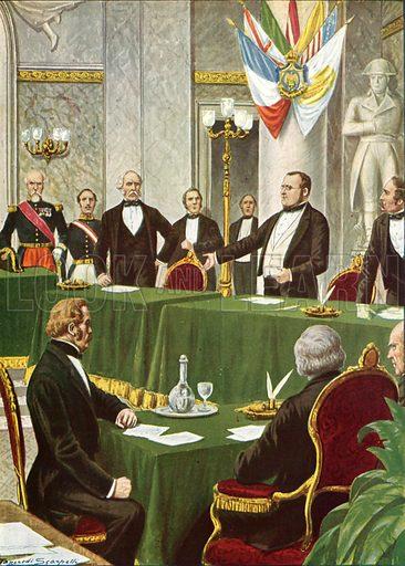 Cavour at the Paris Congress, 1856.  Illustration for Storia d'Italia by Paolo Giudici (Nerbini, 1929-32).