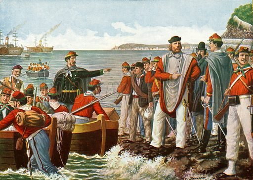 Garibaldi departing on the Expedition of the Thousand in 1860.  Illustration for Storia d'Italia by Paolo Giudici (Nerbini, 1929-32).