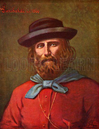 Giuseppe Garibaldi.  Illustration for Storia d'Italia by Paolo Giudici (Nerbini, 1929-32).