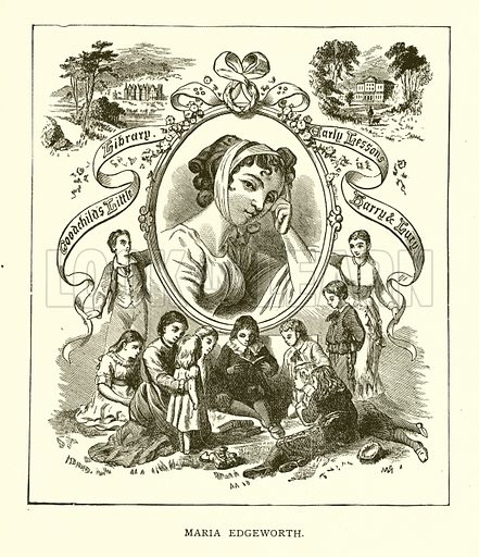 Maria Edgeworth. Illustration for Our World's Greatest Benefactors by Samuel Adams Drake (H J Smith & Co, 1888).