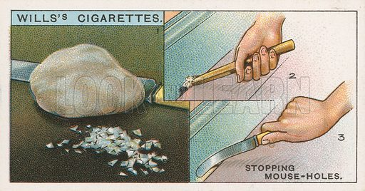 Stopping Mouse-Holes. Illustration for early 20th century cigarette card.