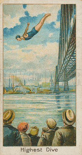 Highest Dive. Illustration for early 20th century cigarette card.
