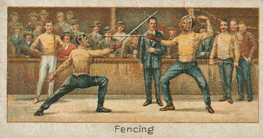 Fencing. Illustration for early 20th century cigarette card.