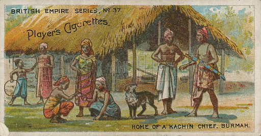Home of a Kachin Chief, Burmah. Illustration for early 20th century cigarette card.