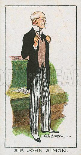 Sir John Simon. Illustration for early 20th century cigarette card.