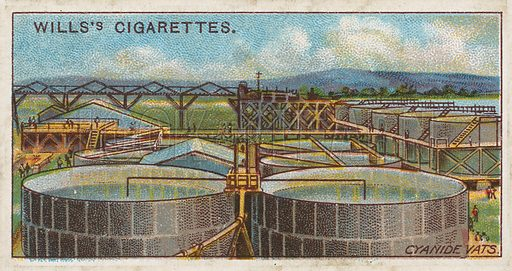 Cyanide Vats. Illustration for early 20th century cigarette card.