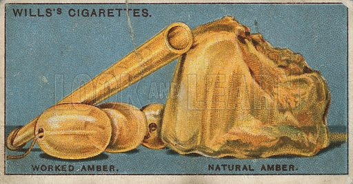 Worked Amber. Natural Amber. Illustration for early 20th century cigarette card.