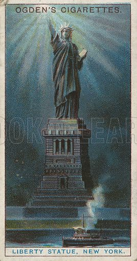 Liberty Statue, New York. Illustration for early 20th century cigarette card.