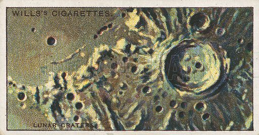 Lunar Craters. Illustration for early 20th century cigarette card.