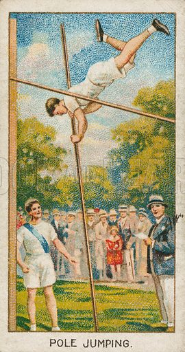 Pole Jumping. Illustration for early 20th century cigarette card.