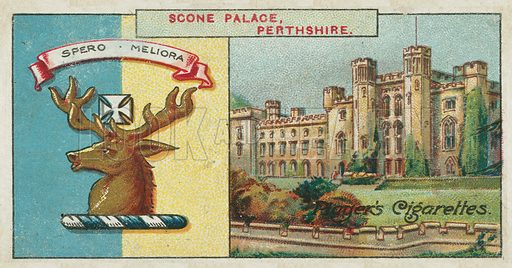 Scone Palace, Perthshire. Illustration for early 20th century cigarette card.