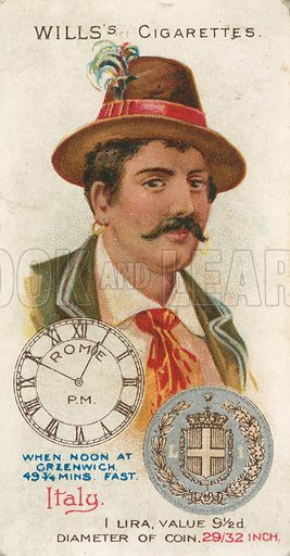 Italy. Illustration for early 20th century cigarette card.
