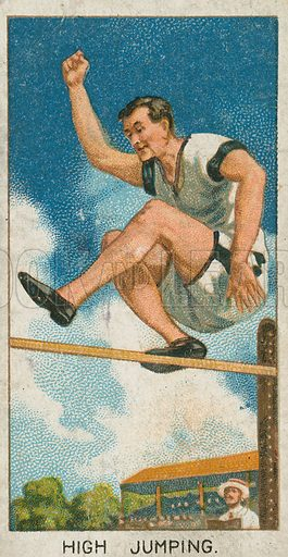 High Jumping. Illustration for early 20th century cigarette card.