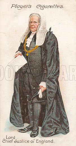Lord Chief Justice of England. Illustration for early 20th century cigarette card.
