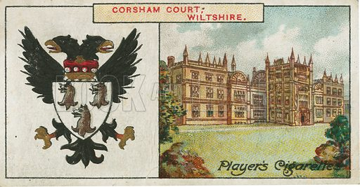 Corsham Court, Wiltshire. Illustration for early 20th century cigarette card.