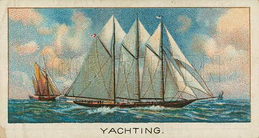 Yachting. Illustration for early 20th century cigarette card.