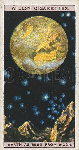 Earth as seen from Moon. Illustration for early 20th century cigarette card.
