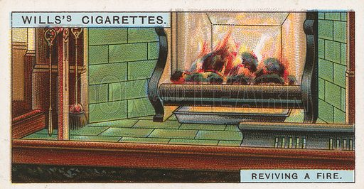 Reviving a Fire. Illustration for early 20th century cigarette card.