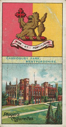 Cassiobury Park, Hertfordshire. Illustration for early 20th century cigarette card.